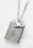Silver Book and Locket Necklace