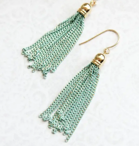 Chain Tassel Earrings - Teal or Black