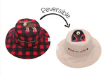 Reversible Kids' Sun Hat - Red Moose / Black Bear