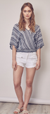 Kimono Short Sleeved Striped Top