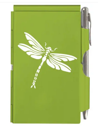 Dragonfly Flip Notepad - Lime Green