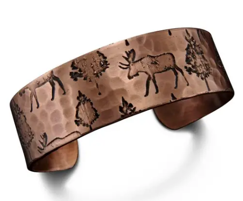 Forest Moose Engraved Cuff - Copper