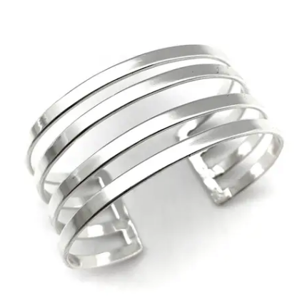 Silver Geo Adjustable Cuff Bracelet