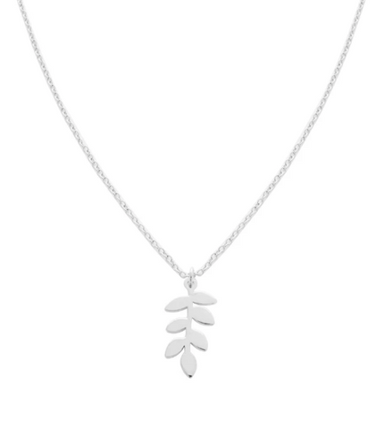 Fern Charm Necklace - Silver