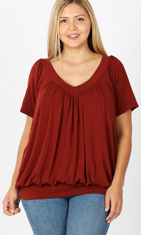 V-Neck Shirring Top - Plus (Multiple Colors)