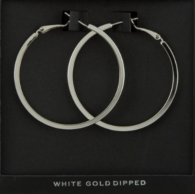 Flat Edged Hoop Earrings - Silver