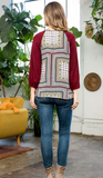 Raglan Rib Knit Top with Scarf Print - Burgundy