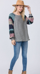 Striped Bishop Sleeve Top (S-3X)