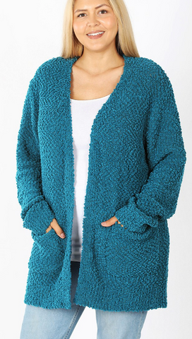 Long Sleeve Popcorn Cardigan - Plus