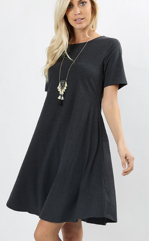 Short Sleeve A-Line Dress - Charcoal