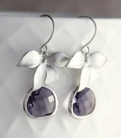 Silver Orchid Earrings - Purple