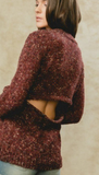 Knit Sweater with Open Back - Burgundy