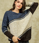 Color Block Sweater - Navy