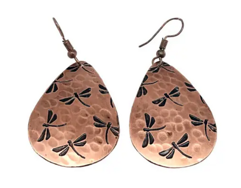 Dragonfly Copper Engraved Earrings