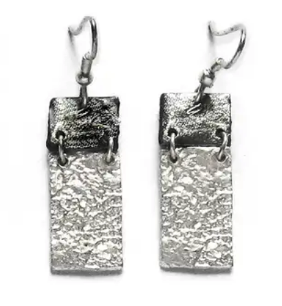 Rectangle Pewter Earrings
