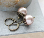 Pearl Acorn Earrings (Multiple Colors)