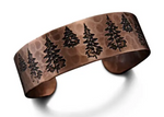 Copper Engraved Trees Cuff Bracelet