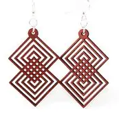 Interlocking Diamond Earrings - Brown