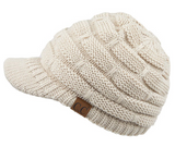 CC Ribbed Knit Hat with Brim (Multiple Colors)