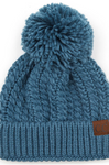 CC Twisted Mock Cable Beanie with Pom