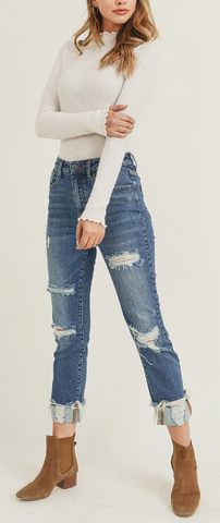 Risen Distressed Straight Leg Jeans - Plus