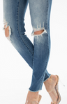 KanCan Mid Rise Knee Distressed Ankle Skinny Jeans