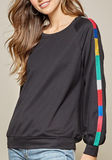 Color Stripe Round Neck Top - Plus