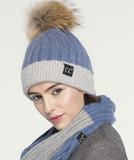 CC Beanie with Fur Pom - Violet/Gray
