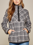 Plaid Quarter-Zip Jacket - Plus