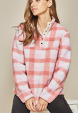 Pink Plaid Sherpa Jacket - Plus