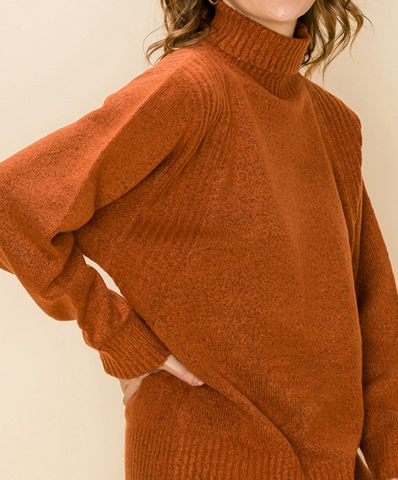 Loose Fit Turtleneck Sweater - Nutmeg