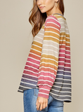 Multi-Colored Long Sleeve V-Neck