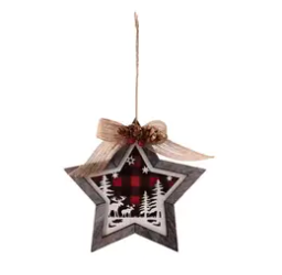 Wooden Red/Black Check Moose & Trees Ornament