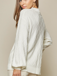 Balloon Sleeve Textured Sweater - Plus
