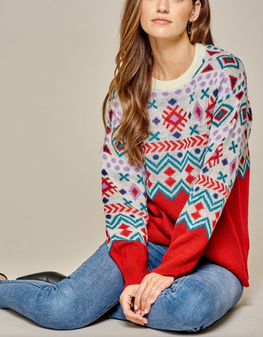 Aztec Inspired Sweater - Red-Multi - Plus