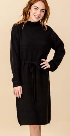 High Neck Sweater Dress - Black