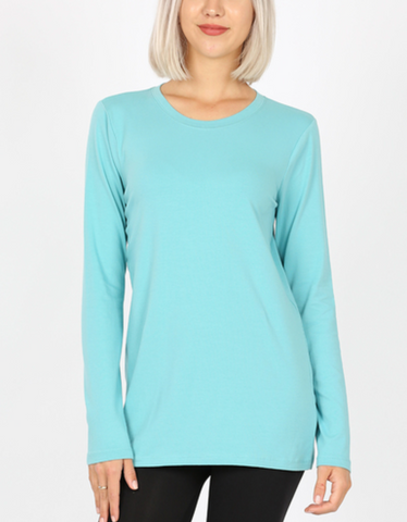 Cotton Crew Neck Shirt - Ash Mint