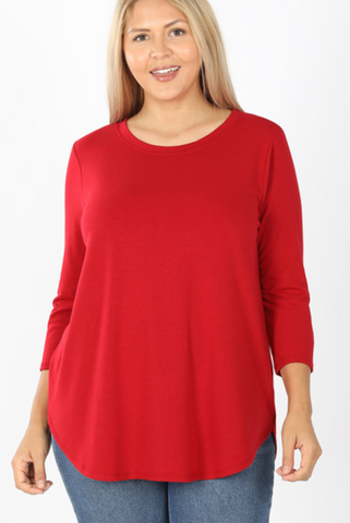 3/4 Sleeve Round Neck and Bottom Shirt - Dark Red
