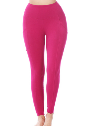 Wide Waistband Cotton Leggings - Plus