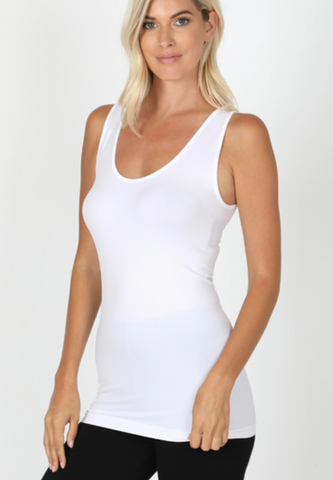 Scoop Neck Seemless Tank Top - White