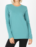 Crew Neck Long Sleeve Tee (Multiple Colors) - Plus