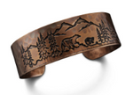 Copper Bracelet with Bear Family