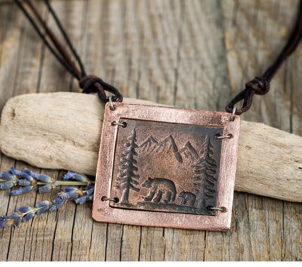 Pewter and Copper Bear Scene Necklace