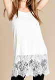 Tired Sheer Laced Hem Extender - White