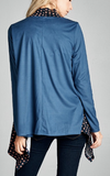 Long-Sleeve Faux Suede Cardigan - Blue