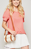 Coral Knit Short Sleeve Shirt - Plus