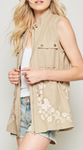 Linen Embroidered Vest - Plus