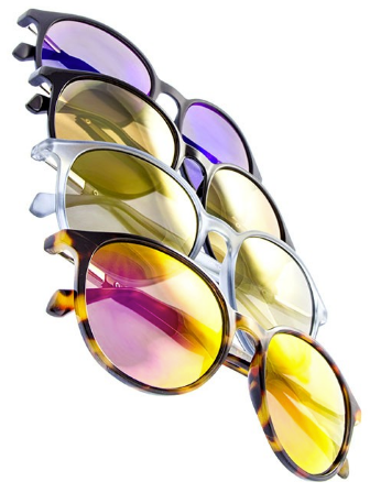 Assorted Round Mirrored Slim Sunglasses