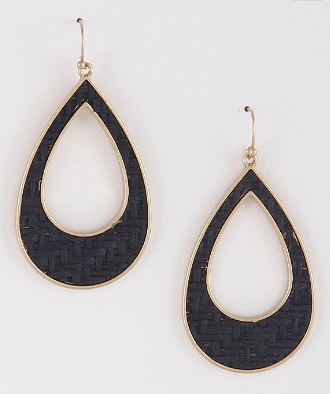 Black Weave Earrings on Brass