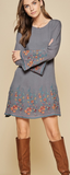 Embroidered Long Sleeve Dress - Charcoal